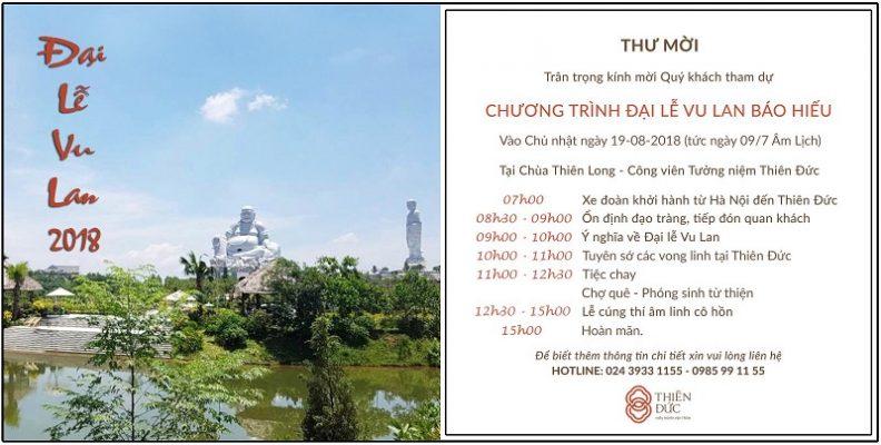 Đại lễ Vu lan 2018 - tại Chùa Thiên Long Công viên Tưởng niệm Thiên Đức